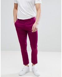 ASOS DESIGN Super Skinny Crop Smart Trousers In Raspberry Cotton Sa