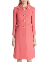 Dolce & Gabbana Rose Button Wool Coat