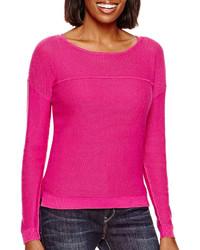 Ana Ana Long Sleeve Mesh Sweater  Petite