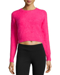 Line Angora Blend Cropped Sweater Rouge