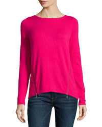Design History Cashmere Blend Zip Detailed Sweater Pink Passion