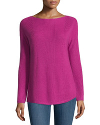 Neiman Marcus Long Sleeve Pointelle Sweater Festive Fuchsia