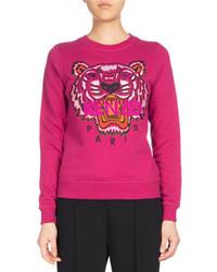 Kenzo Tiger Classic Pullover Sweatshirt Fuchsia