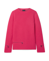 Akris Zip Detailed Ribbed Cashmere Sweater
