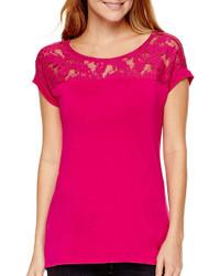 Ana Ana Short Sleeve Lace Yoke T Shirt