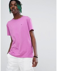Tommy Jeans Essential Solid Flag Logo T Shirt In Pink