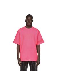 Gcds Pink Fluo Logo T Shirt