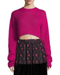 MCQ Alexander Ueen Cropped Mohair Crewneck Long Sweater