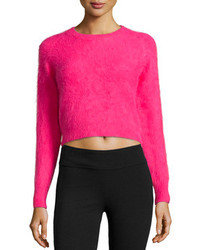 Angora blend cropped sweater rouge medium 109732
