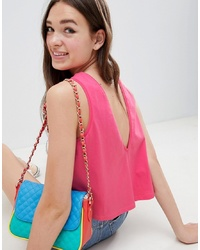 ASOS DESIGN Crop Vest With V Back In Pink