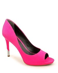 Hot Pink Cutout Leather Pumps