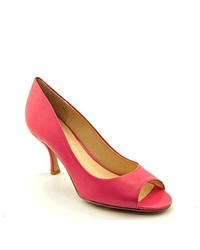 Nine West Quinty Pink Open Toe Leather Pumps Heels Shoes Uk 55