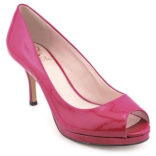 Vince Camuto Kendall Pink Open Toe Leather Pumps Heels Shoes ...
