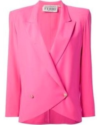Hot Pink Double Breasted Blazer