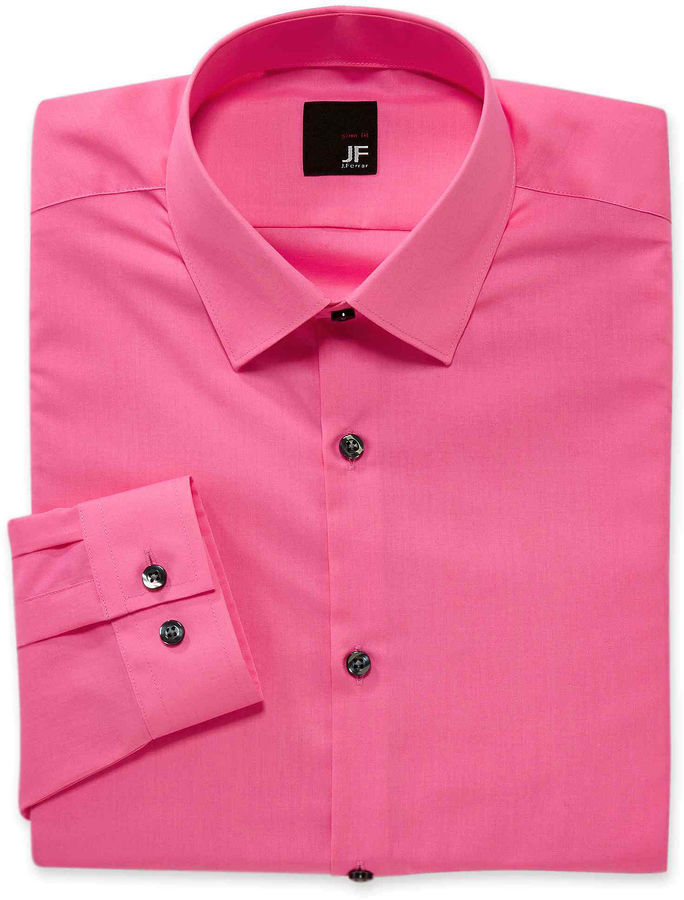 JF J.Ferrar Jf J Ferrar Easy Care Solid Dress Shirt Slim Fit ...