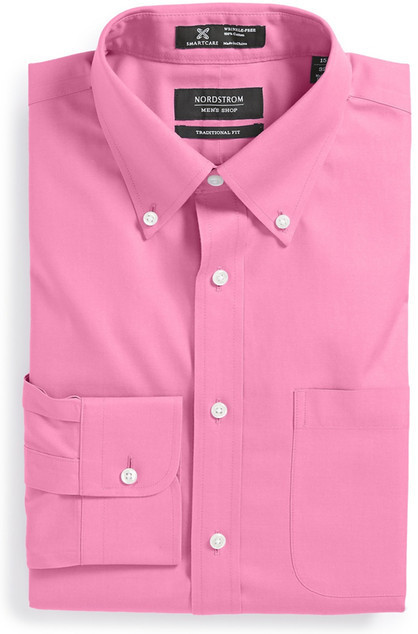 Hot pink dress shirt all dress for Best wrinkle free dress shirts