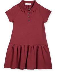 Burberry Cali Smocked Raglan Polo Dress Peony Rose Size 4 14
