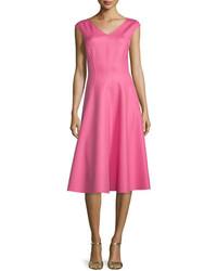 Michael Kors Michl Collection Cap Sleeve Seamed Dress Peony