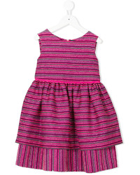 Oscar De La Renta Kids Tweed Scalloped Hem Layered Dress