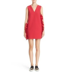 MSGM Ruffle Trim Technical Crepe Dress