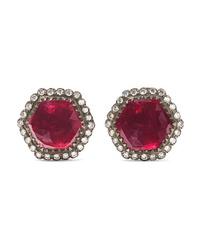 Amrapali 18 Karat Gold Sterling Silver Ruby And Diamond Earrings