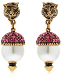 Gucci Faux Pearls Crystal Earrings
