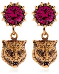 Gucci Feline Head Crystal Earrings