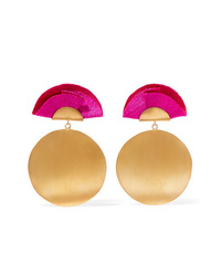 Katerina Makriyianni Full Moon Gold Tone And Silk Earrings