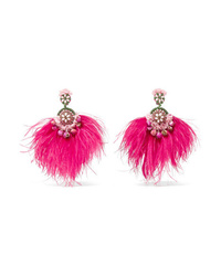 Ranjana Khan Gold Tone Feather Mother Of Pearl And Crystal Clip Earrings