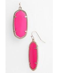 Kendra Scott Elle Small Oval Earrings Neon Pink Gold