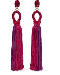 Oscar de la Renta Tasseled Silk Gold Plated And Swarovski Crystal Clip Earrings Pink
