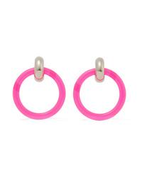 Balenciaga Silver Tone And Neon Resin Earrings