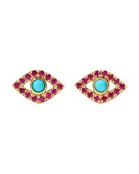 Sydney Evan Small Evil Eye 14 Karat Gold Ruby And Turquoise Earrings
