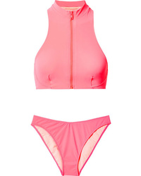 Stella McCartney Zip Embellished Neon Bikini
