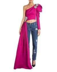 Hot Pink Embellished Cropped Top