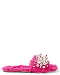 Miu Miu Embellished Faux Shearling Slides Fuchsia