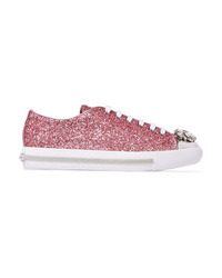 Miu Miu Crystal Embellished Glittered Leather Sneakers