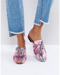 Mango Embellished Lighten Bolt Jacquard Floral Mule