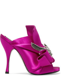 No.21 No 21 Embellished Knotted Satin Mules Fuchsia