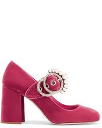 Miu Miu Embellished Velvet Mary Jane Pumps Pink