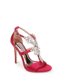 Hot Pink Embellished Satin Heeled Sandals