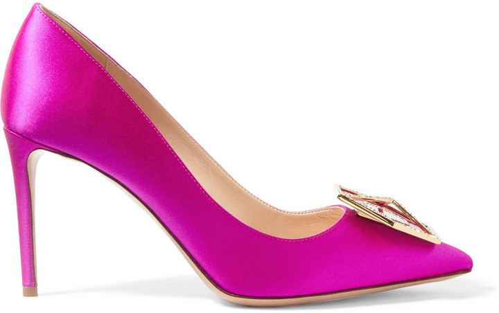 ... Pink Embellished Satin Pumps Nicholas Kirkwood Eden Jewel Crystal  Embellished Satin Pumps Fuchsia ... bfd466a31