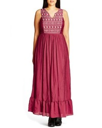 City Chic Plus Size Embroidered Love Maxi Dress