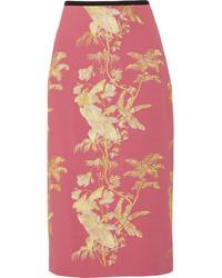 Erdem Safia Metallic Embroidered Crepe Midi Skirt Pink