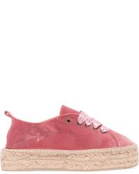 Manebi Lace Up Velvet Espadrilles Pink