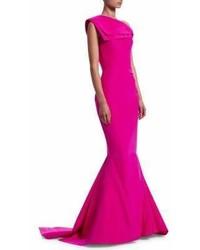 Zac Posen Foldover One Shoulder Silk Mermaid Gown