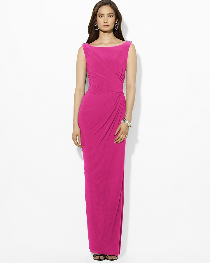 f9fe887424e3 ... Evening Dresses Lauren Ralph Lauren Gown Boat Neck Sleeveless Pin  Shoulder ...