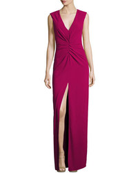 Heritage cap sleeve v neck ruched front column evening gown medium 5277260
