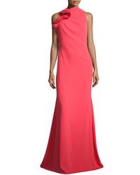 Ruffle neck sleeveless mermaid gown melon medium 3651610
