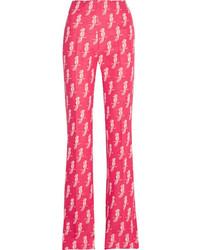 Miu Miu Jacquard Knit Wool Blend Flared Pants Pink